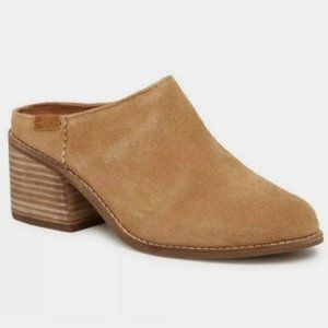 TOMS Leila Tan Suede Heeled Mules Size 9